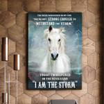 White Horse I Am The Storm Matte Canvas