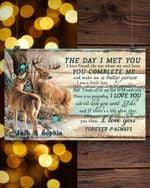 Custom Name Wild Deers You Complete Me Gift For Husband Matte Canvas
