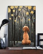 Poodle Night Forest Gift For Dog Lovers Matte Canvas