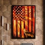 Wolf And Flag Usa Patriot Matte Canvas Gift