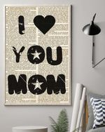 I Love You Mom On Newspaper Background Matte Canvas Gift