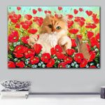 Cat In Red Flower Garden Gift For Cat Lovers Matte Canvas