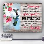 Pink Hibiscus Cardinal Bird Inside Your Heart Matte Canvas Gift