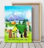 Camping Together Blue Sky Custom Name Gift For Dog Lovers Matte Canvas