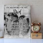 Custom Photo Gift For Dad Matte Canvas In Memory Of My Dad In Heaven