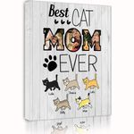 Best Cat Mom Ever Custom Name And Photo Matte Canvas Gift For Family