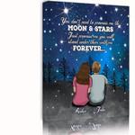 Forever Moon And Stars Gift For Lover Custom Name Matte Canvas