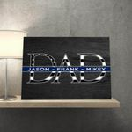Father's Day Thin Blue Line Custom Name Matte Canvas