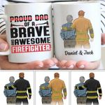 Proud Dad Of A Brave And Awesome Firefighter Gift For Dad Custom Name Printed Mug