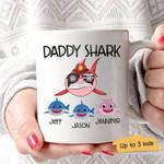 Gift For Firefighter Dad Shark Thin Red Line Custom Name Printed Mug