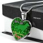Gift For Dog Lovers Silver Heart Pendant Necklace On St. Patrick's Day