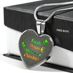 Best Saint Patricks Day Silver Heart Pendant Necklace