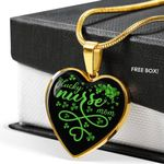 Lucky Nurse Mom St. Patrick's Day - Heart Pendant Luxury Necklace