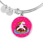 Unicornilicius Donut Silver Circle Pendant Bangle Braclet Gift Ideas