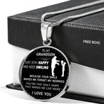 Birthday Gift For Grandson Silver Circle Pendant Necklace Just Stay Happy