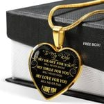 Gift For Wife 18k Gold Heart Necklace My Heart For You Will Never Break