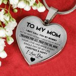 Gift For Mom Silver Heart Pendant Necklace Thanks For All That You Do
