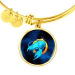 Gift For Girl Zodiac Sign Cancer 18k Gold Finished Bangle Bracelet