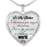 Present For Mommi Silver Necklace To Me You're The World