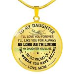 Gift For Daughter 18k Gold Circle Pendant Necklace Love You Forever