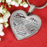 Gift For Daughte Silver Heart Pendant Necklace You're My Little Girl Forever