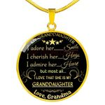 Gift For Granddaugter 18k Gold Circle Pendant Necklace I Admire Her Heart