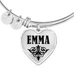 Gift For Girl Who Name Emma Silver Heart Adjustable Bangle