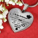 Birthday Gift For Girlfriend Silver Heart Pendant Necklace Love You Longer