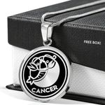 Gift For People Who Belongs Cancer Zodiac Silver Circle Pendant Necklace
