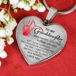 To My Granddaughter Just Colse Your Eyes And Imagine Me Hugging You Heart Pendant Necklace