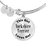 This Girl Loves Her Yorkshire Terrier Silver Circle Pendant Bangle Bracelet