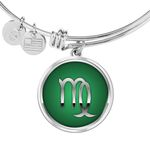 Gift For People Zodiac Sign Virgo Silver Circle Pendant Bangle Bracelet