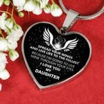 Gift For Daughter Silver Heart Pendant Necklace I Love You
