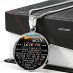 Dad Gift For Son Silver Circle Pendant Necklace Never Forget That I Love You