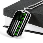 St. Patrick's Day Irish With Black And White American Flag Dog Tag Necklace Gift For Friends