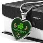 Cute St Patricks Day Genuine Heart Pendant Necklace