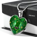 St Patrick Day Shamrock Heart Pendant Necklace For Family