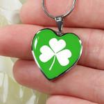 Shamrock Irish Heart Pendant Necklace St Patrick's Day