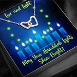 Happy Hanukkah Love And Light Interlocking Hearts Necklace