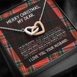 Merry Christmas My Love For You Interlocking Hearts Necklace For Lover