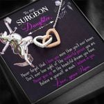 Never Give Up Papa To Surgeon Daughter Interlocking Hearts Necklace