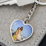 Custom Photo And Text Image Heart Pendant Keychain Gift For Lover For Family