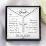 The Best Day Of Your Life White Gold Cross Necklace For Daughter