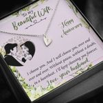To My Beautiful Wife Happy Anniversary Sweetest Hearts Necklace