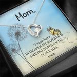 Gift For Angel Mom Who Smiling Down On Me 14K White Gold Forever Love Necklace