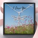 Flowers Field Dragonfly Dreams Necklace I Love You Gift For Wife