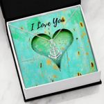 I Love You Green Heart Gift For Lover Stainless Anchor Necklace