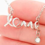 Gift For Beautiful Granddaughter Happy Birthday Stainless Scripted Love Necklace