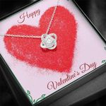 Happy Valentine's Day Love Knot Necklace Gift For Her