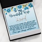 Flower Thank For A Great Life Partner Scripted Love Necklace Gift For Wife